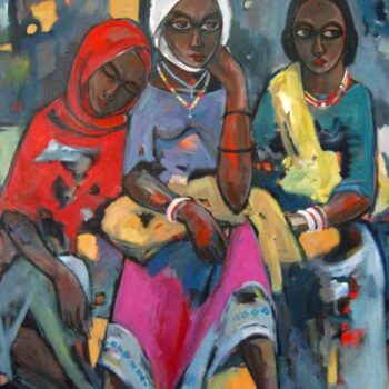 After market - Solomon Teshome Jenbere - acrylic painting