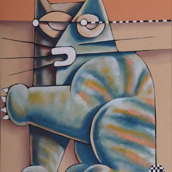 Chat et balle - Manuel Martinez - acrylic painting