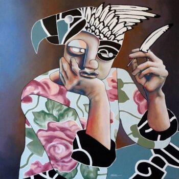 De ta plus belle plume - Manuel Martinez - acrylic painting