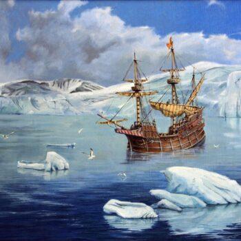 Galeona v ledu - Václav K. Killer - oil painting