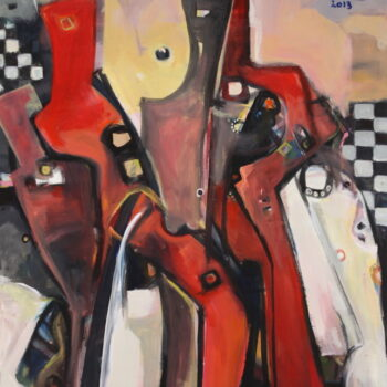 In the City 2 - Solomon Teshome Jenbere - acrylic painting
