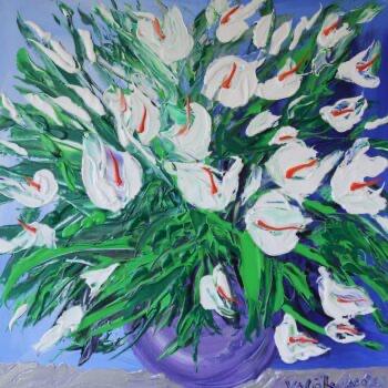 Kaly v modré váze - Josef Valčík - acrylic painting