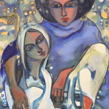 Mother and child - Solomon Teshome Jenbere - acrylic painting
