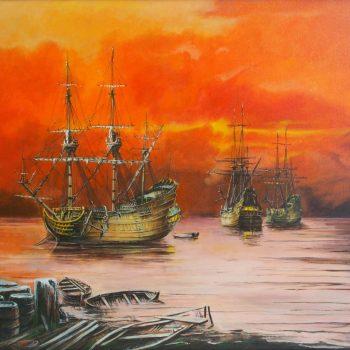 Přístav - Václav K. Killer - oil painting