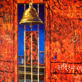 Red temple - Rajesh Pritam More - combined painting