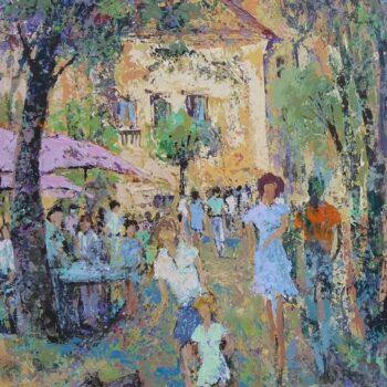 Rušný dvorek - Vladimir Domničev - acrylic painting