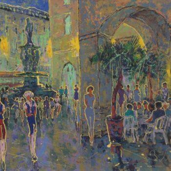 Vídeň. Večer. Opera. - Vladimir Domničev - acrylic painting