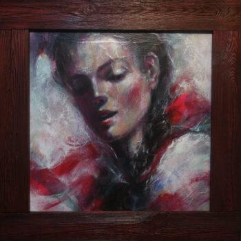 Červená stuha - Cyril Uhnák - combined painting