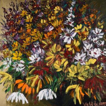 Kytice chryzantém - Josef Valčík - acrylic painting