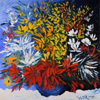 Kytice na bílém ubrusu - Josef Valčík - acrylic painting