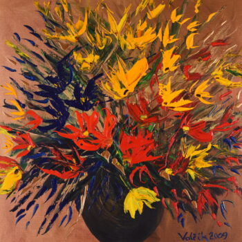 Kytice na zlatém pozadí II. - Josef Valčík - acrylic painting