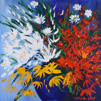 Kytice v modré váze III. - Josef Valčík - acrylic painting
