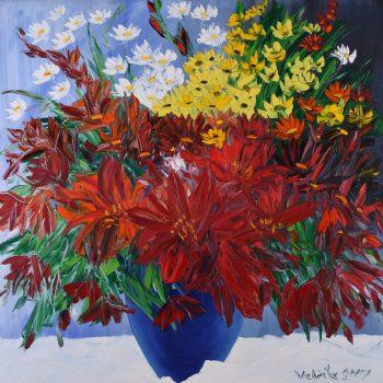 Kytice v modré váze - Josef Valčík - acrylic painting