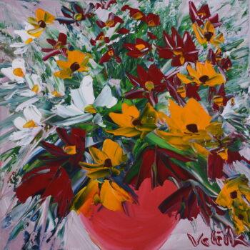 Polní květy v červené váze - Josef Valčík - acrylic painting