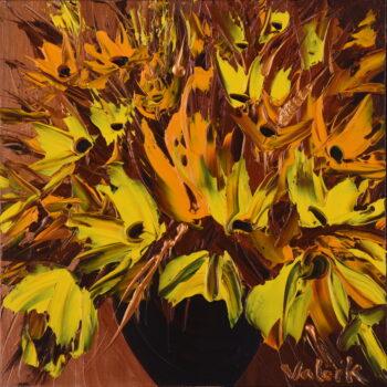 Žlutá kytice na bronzovém pozadí - Josef Valčík - acrylic painting