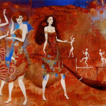 Plážová hudba - Norbert Judt - combined painting