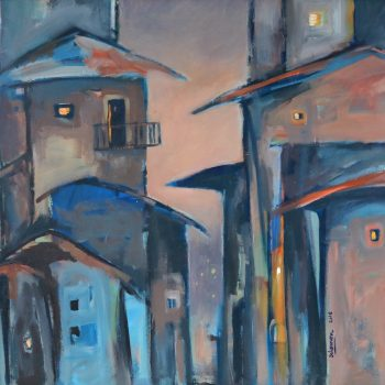 African house 8 - Solomon Teshome Jenbere - acrylic painting