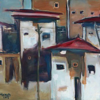 Axum house 2 - Solomon Teshome Jenbere - acrylic painting