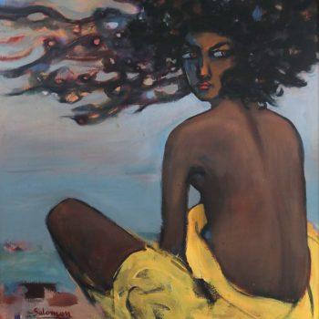 Beach girl 1 - Solomon Teshome Jenbere - acrylic painting