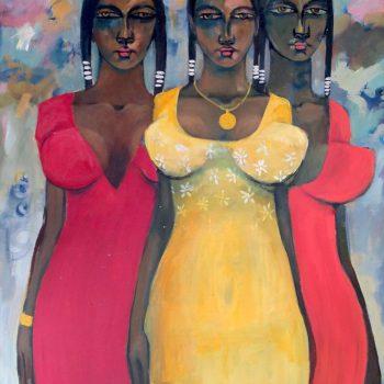 Fashion show 4 - Solomon Teshome Jenbere - acrylic painting