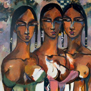Friends 6 - Solomon Teshome Jenbere - acrylic painting