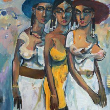 Friends 9 - Solomon Teshome Jenbere - acrylic painting