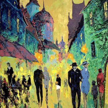 Ulice s kavárnou - Vladimir Domničev - acrylic painting