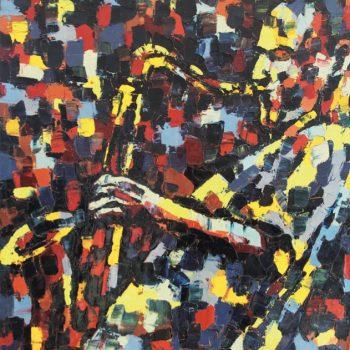 Saxo man by Night - Ebip Serafedino - oil painting